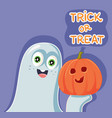 funny cartoon halloween ghost with pumpkin vector image