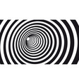 geometric hypnotic spiral black and white striped vector image