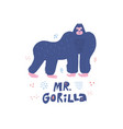 gorilla hand drawn poster in scandinavian style vector image