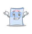 grinning newspaper character cartoon style vector image