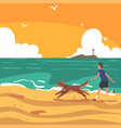 guy running with his dog on beach seaside at vector image vector image