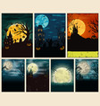 halloween colorful vintage posters set vector image vector image