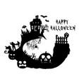 halloween party pumpkin castle trees bats and vector image vector image