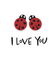 i love you card with two ladybugs vector image vector image