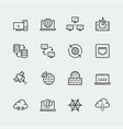 internet computer network icon set in thin vector image vector image