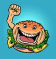 joyful character fast food burger vector image vector image