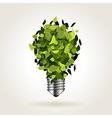 Light bulb of green leaves vector image