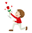 Man holding up the rose vector image vector image