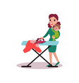 mother ironing clothes with baby in her arms vector image