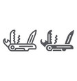 multi tool line and glyph icon camping and vector image vector image