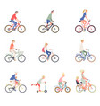 people on a bicycle set cartoon men women and vector image