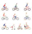 people on a bicycle set of cartoon men women vector image