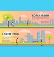 people spending time in urban park poster vector image vector image