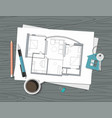 project architect house plan and key vector image