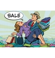 Retro man rescues a woman from sales and purchases vector image vector image