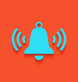 ringing bell icon whitish icon on brick vector image vector image