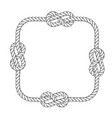 rope frame - square rope frame with knots vector image