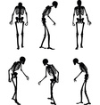 skeleton silhouette in old walk pose vector image vector image
