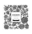square floral design with black and white vector image