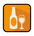 square frame with bottle and glass vector image