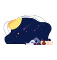 starry sky girl guy look at stars and planets vector image