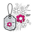 tag hanging with floral pattern vector image