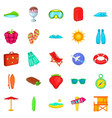 tropical vacation icons set cartoon style vector image vector image