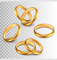 wedding rings set isolated on white vector image