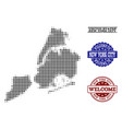 welcome composition of halftone map of new york vector image vector image