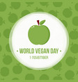 world vegan day greeting card vector image