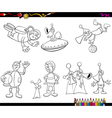 aliens and spaceman coloring book vector image vector image