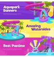 Aquapark Horizontal Banners vector image vector image