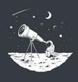 astronaut watching stars through telescope vector image vector image