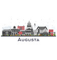 augusta maine city skyline with color buildings vector image vector image