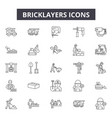 bricklayers line icons for web and mobile design vector image vector image