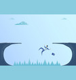 business man falling in cliff gap problem finance vector image vector image