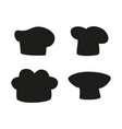 chef hats designs dark isolated silhouettes set vector image