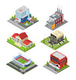 city building set isometric view vector image vector image