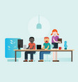 co-working people working on their laptop together vector image vector image