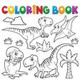 coloring book dinosaur theme 8 vector image vector image