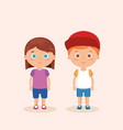 couple little kids characters vector image vector image
