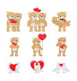 cute soft toy bears and white doves in love set vector image vector image