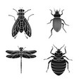 design of insect and fly symbol set of vector image