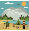 Flat design with fisherman and hunter vector image vector image