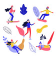 flat people enjoying winter sports set vector image