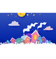 funny winter village christmas card paper art vector image