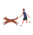 guy walking with his dog young man running vector image vector image