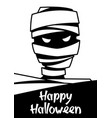happy halloween greeting card with mummy vector image vector image