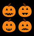 happy halloween pumpkin set funny creepy smiling vector image
