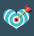 heart target with dart flat design vector image vector image